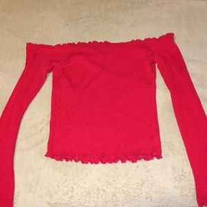 red rubbed off the shoulder top